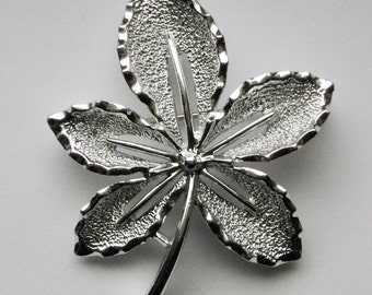 """Vintage Sarah Coventry """"Ivy"""" silver tone Ivy Leaf Brooch Pin"""