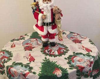 Christmas Tablecloth, Holiday Tablecloth, Round Christmas Tablecloth, Coated Tablecloth