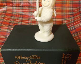 """Department 56 Just One Little Candle Snowbabies Christmas Figurine in Box Porcelain 4"""" Snowbaby"""