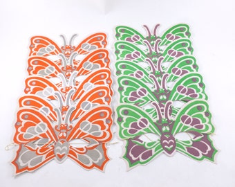 Butterfly Paper Party Masks Lot Green, Purple, Red and Gray Screenprinted
