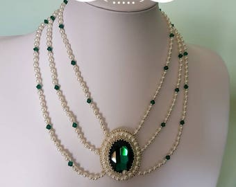"Handmade bead embroidery necklace ""Emerald necklace"""