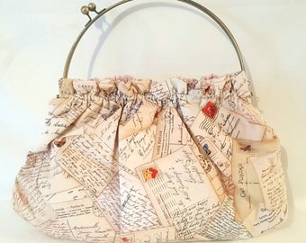Postcards From Paris Bag/Oversized Vintage Style Bag/ Handbag