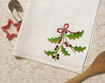 Tea Towel - Mistletoe - Holiday Towel - Country Western Kitchen Decor -Embroidered - Christmas Holiday Gift - Basket Liner - Country Kitchen