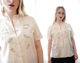 Vintage cream cotton embroidered Asian oriental snap front short sleeve cheongsam blouse top shirt BoHo