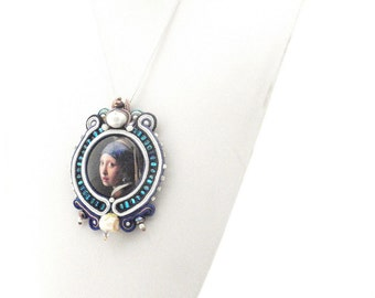 Long necklace the Girl with the pearl earring , Art inspired jewelry baroque , Blue cobalt and white necklace , famous masterpiece