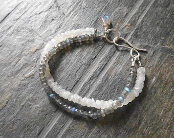 Rainbow Moonstone Labradorite bracelet, Sterling Silver Rainbow Moonstone Labradorite Bracelet, Gemstone Bracelet, Two Strand Bracelet