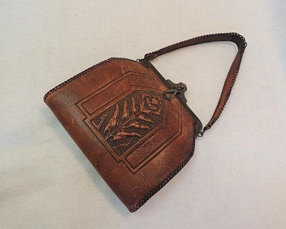 Antique Art Nouveau Deco Floral Hand Bag Tooled Leather Purse.. JEMCO 1921