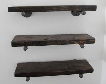 Industrial pipe shelves, pipe shelves, Rustic shelf, reclaimed wood shelf, floating pipe shelves, MADE TO ORDER