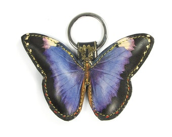 Butterfly keychain, Butterfly Key Ring, Leather Keychain, Gift for Mum, Girlfriend Gift, Bag Charm   - Royal Purple Butterfly