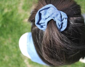 Denim handmade scrunchie made from repurposed fabrics.