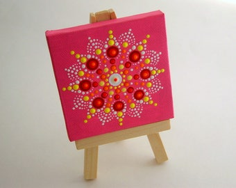 SHIPS FREE-Inspirational 3x3 canvas wall art-OOAK 3D mini mandala-dot art-pointillism-spring gift ideas-Zen-bohemian art-hot pink-neon glow