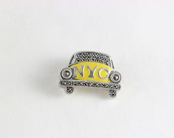 Sterling Silver Marcasite and Enamel NYC Yellow Cab Pin Brooch Judith Jack Pin
