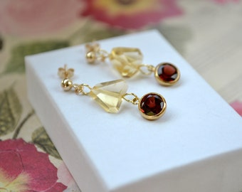 Citrine and garnet earrings - Raw nugget gemstone jewellery - Gold filled studs