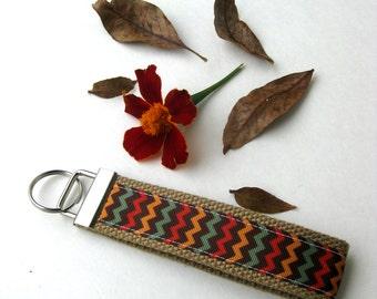 Chevron KEY FOB Wristlet- Wrist Keychain for Her- Key Lanyard for Women- Wristlet Key Chain- Womens Gift for Her- Gift for Women Under 10