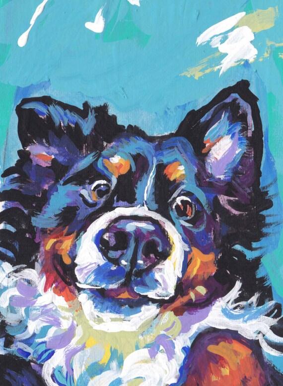 Bernese Mountain Dog Print Of Modern Pop Art Painting Bright Colorful Portrait 13x19 Berner