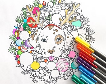 Holiday Dog Wreath coloring page