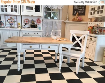 SALE Miniature White Vermont Table With 2 Drawers, Oak Wood Top, Dollhouse Miniature Furniture, 1:12 Scale, Dollhouse Table