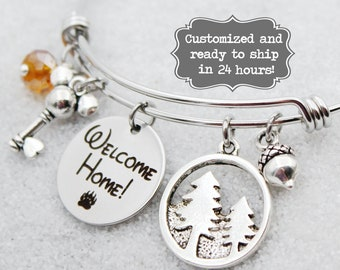 DVC Grand Californian - Welcome Home - Vacation Club - DISNEY Inspired, Resort, Custom Name Charm Bracelet Adjustable Bangle, Mickey Key