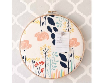 Cork Board, Memo Board, Bulletin Board, Floral Wall Art, Embroidery Hoop, Organize, Home Decor,  Home Office, Gift for Her, Pin Board, Mom
