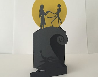 Blank Paper Cut Card Inspired by Nightmare Before Christmas