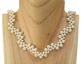 Beading Kit - Vintage Style Swarovski Pearl Necklace - Right Angle Weave Necklace - DIY
