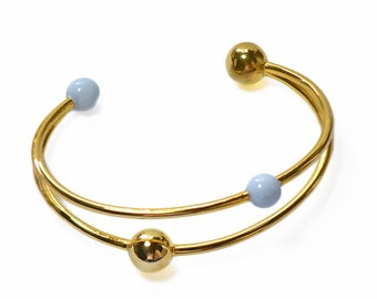 Gold and Turquoise Sun Moon Bangle // Orbiting Planets Galaxy Design, Modern, Enameled, Gold Bracelet // Choose Your Accent Color