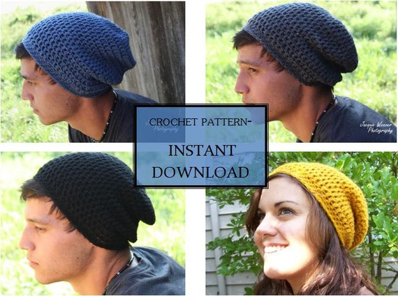 crochet PATTERN- Slouchy beanie- Adult Men and Women\'s Sizes also ...
