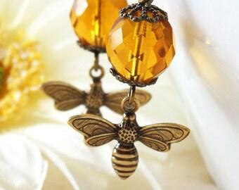 Bee Earrings, Bee Jewelry, Bee and Honey, Czech Glass Earrings, Topaz Earrings, Honey Bee Jewelry, Topaz Glass Jewelry, Apiculture Jewellery