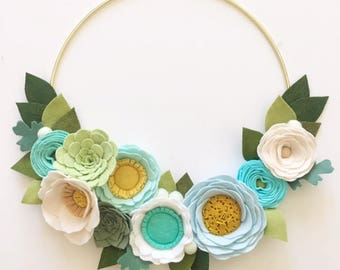 MODERN WREATH // Felt Flower Wreath // Floral Wreath // Gold Hoop Wreath // Roses + Succulents // Aqua + Mint + Icicle Blue + Julep