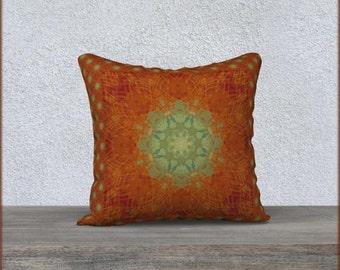 Orange and Green Pillow Cover, Boho Decor, Boho Gifts for Her, Mandala Art Pillow Cover, Eastern Pattern, Zen Yoga Inspired Design