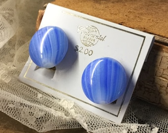 Sweet Mottled Cerulean Blue Art Glass Button Earrings Unsigned On Continental Card Clip On Brass Backing Mid Century Modern 1940's 1950's