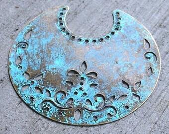 ethnic pendant, VERDIGRIS antique bronze crescent moons WHOLESALE 25 pcs, boho pendant