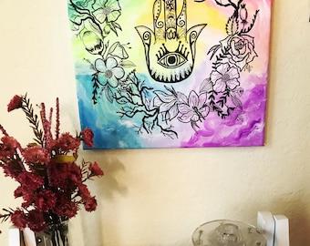 Floral Hamsa Painting