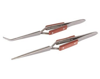 2 pce cross -action tweezer set  heat resistant (669) Free uk shipping
