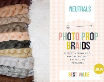 10ft Extra Long Fine Merino Wool Roving Braid -  Basket Filler - Neutral Colors - Newborn Photo Prop