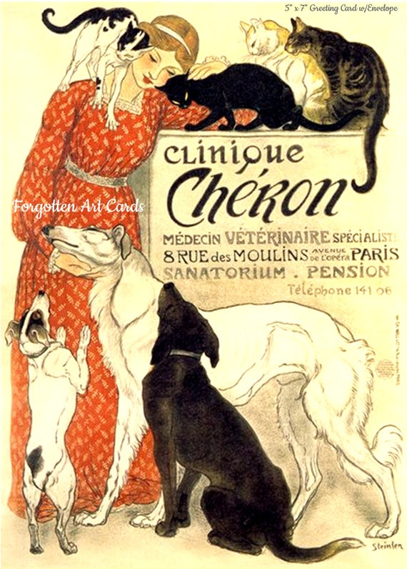 "Clinique Cheron Card 5""x7"" Greeting Card + Envelope Cats Dogs Red Dress Forgotten Art Card Pretty Girl Postcards"