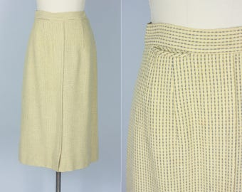 Vintage 1940s 1950s Skirt | 40s 50s Cute Cream White and Grey Gray Wool Striped Pencil Skirt with Pocket | Small