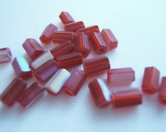 25 - Matte Ruby Red AB Czech Glass Atlas Beads