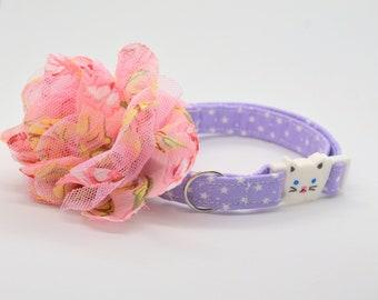 Cat bow flower,breakaway cat collar 'Milky Way',star cat collar,kitten collar,galaxy cat collar,moon cat collar,cute,bell,Crafts4Cats