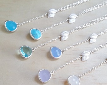 Shades of Blue necklace Silver Leaf necklace Bridesmaid Gift Silver and Blue Lariat necklace beach wedding trend Nature inspired
