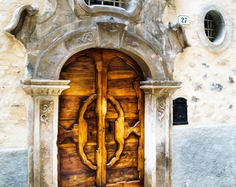 Old Door, Scanno Italy, Wooden Door, Rustic Door, Textured Door Print, Unique Door, Carved Door, Scanno Door, Fine Art Photograph