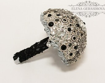 Diamante Brooch Bouquet - black silver Bridal Bouquet - Wedding Bouquet