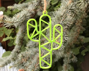 Green Geometric Cactus | Acrylic | Perspex | Plastic | Laser Cut | Christmas | Tree Decoration | Ornament | Ornaments
