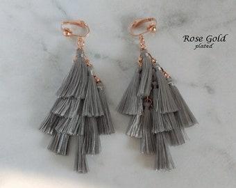Clip On Earrings: Clip-on Earrings Multiple Grey Tassels, Rose Gold Plated Clips | Fashion Earrings, Clip Earrings, Gifts for Women 464