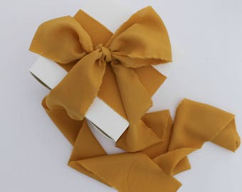 "Mustard Yellow Ribbon. 1.5"" Wide Luxury Ribbon. Hand Torn and Frayed Crepe De Chine Ribbon. 3 Meters. Wedding Bouquet Ribbons. Gift Wrap"