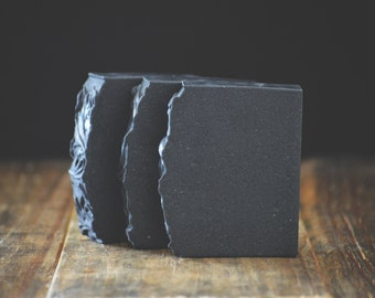 Activated Bamboo Charcoal Soap | Eucalyptus + Lavender Soap Bar | All Natural Scented Handmade Essential Oil Cold Process Soap, Vegan Soap