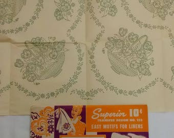 Vintage Iron On Transfer Embroidery Pattern For Linens, Floral, Pansy, Superior