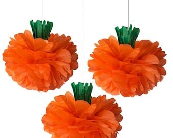 Pumpkin Tissue Paper Poms, 3 Piece Set, Halloween Decorations, Thanksgiving decoration, Pumpkin Decoration, Orange Pom