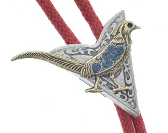 Western Bolo Tie, Bird with stones , made in USA
