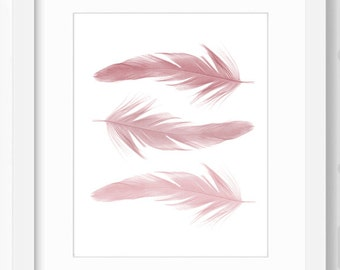 Feather print, Feather wall art, printable art, bohemian decor, nature prints, feather wall decor, feather art, instant download, nature art